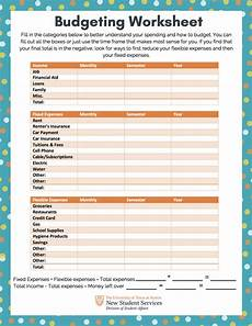 budgeting worksheet off cus living resources the university of texas at