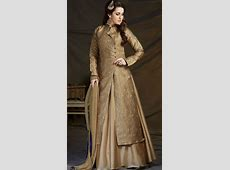 Great Fashion Golden Stylish Long Kameez With Dupion Silk