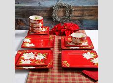 Laurie Gates Pleasant Poinsettia 12 Piece Dinnerware Set