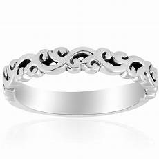 14k white gold carved womens wedding band filigree