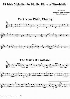 irish melodies for fiddle flute or tinwhistle sheet music by traditional sheet music
