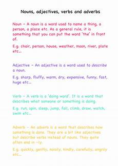 nouns adjectives verbs and adverbs definitions by