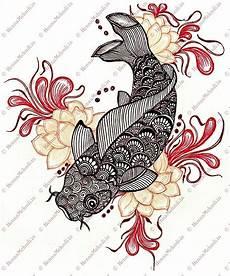 Dessin Poisson Japonais Koi Fish Drawing Mehndi Style Designs En 2018