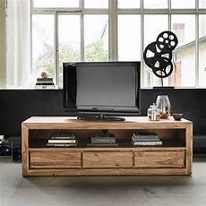 meuble tv 3 tiroirs en sheesham massif et acacia meuble