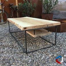 table basse axis quot p quot acier bois live edge planche brute
