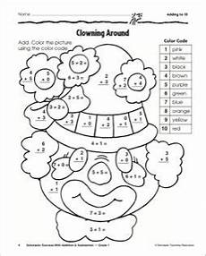 adding to ten clown math practice page addition worksheets basic math math practices