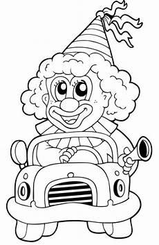 kostenlose malvorlage transportmittel clown in einem auto