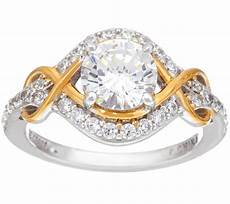 diamonique two tone infinity bridal ring sterling page 1 qvc com
