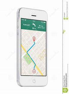 navigation mobile app white modern mobile smart phone with map gps navigation