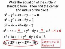 standard equation of a circle with radius and center tessshebaylo