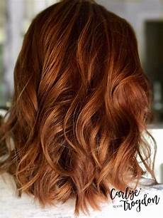 copper and mahogany balayage soft grow out for