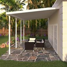 integra 8 ft 20 ft white aluminum attached solid patio cover with 4 posts maximum roof load