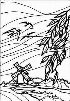 windmuehle 3 ausmalbild malvorlage landschaften