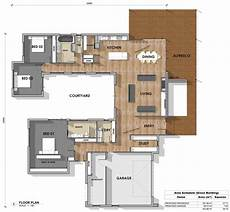 u shaped house plans single level floor plan friday 3 bedroom study u shape courtyard