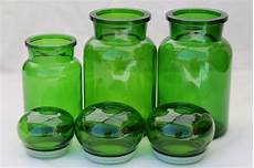 green canisters kitchen mod vintage green glass kitchen canisters airtight seal apothecary jars canister set