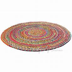 bunter runder teppich colorful jute rug jute rugs of india