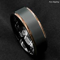 rose gold wedding rings men tungsten carbide ring rose gold black brushed wedding band ring men s jewelry ebay