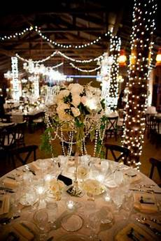 wedding decor rustic bling rustic barn with twinkle lights and pearls summer wine
