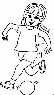 maedchen spielt froehlich ausmalbild malvorlage sport
