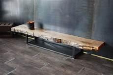 meuble bois massif brut meuble tv banc tv live edge bois m 233 tal de style industriel