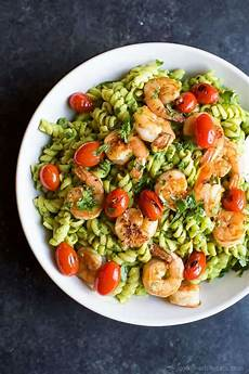 chimichurri avocado pasta with pan seared shrimp easy healthy recipes using real ingredients