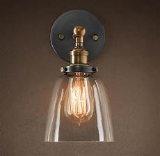 20th c factory filament clear glass cloche sconce