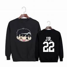 Pt482 Kpop G0t7 Karakter Kartun Gambar Print Sweater Hitam
