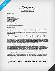 elementary teacher cover letter sle guide
