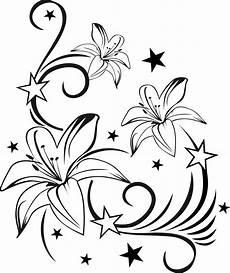 Ausmalbilder Blumenmuster Lilienranke Mit Sternen Wandtattoo Wandsticker Und