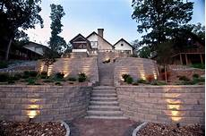 terraced retaining wall with stairs and accent lighting contemporary landscape minneapolis