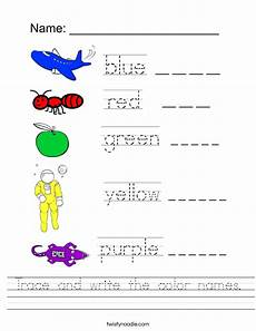 colors tracing worksheets 12820 trace and write the color names worksheet twisty noodle