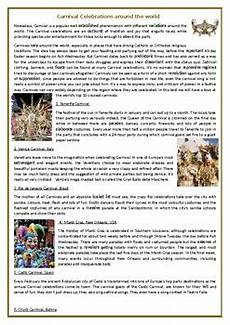 carnival celebrations around the world reading comprehension worksheet