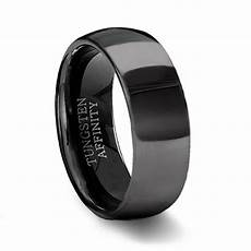 polished black tungsten wedding band mens black wedding ring