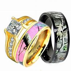 his hers 3 pcs pink camo 14k gold plated silver