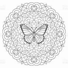 Malvorlage Schmetterling Mandala Butterfly Mandala Coloring Page Stock Illustration