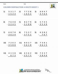 single digit subtraction worksheets for kindergarten 10505 4 digit subtraction worksheets
