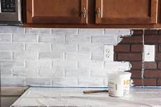 Faux White Brick Backsplash