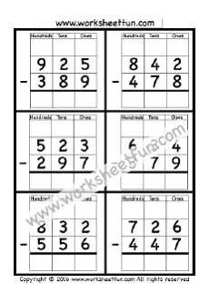 2nd grade math worksheet subtraction with borrowing 3 digit borrow subtraction regrouping 4 worksheets