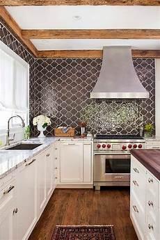 Moroccan Tiles Kitchen Backsplash Kitchen With Brown Moroccan Tiles Backsplash