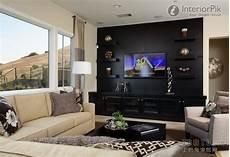 effect picture of classic black living room tv background wall decoration add floating shelves