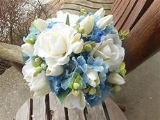 blue wedding bouquet blue bridal bouquet blue and white