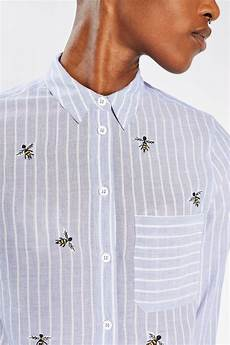 lyst topshop bumblebee embroidered shirt in blue
