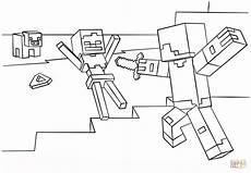 minecraft steve vs skeleton coloring page free