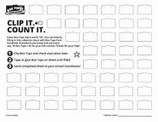 box tops for education collection sheets