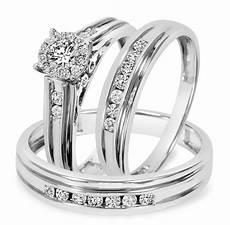 3 4 carat t w diamond trio matching wedding ring 10k white gold my trio rings bt524w10k
