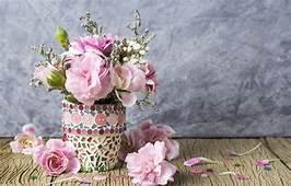 Wallpaper Flowers Petals Bucket Pink Vintage Wood