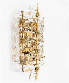 large gold plated brass and glass brutalist wall light sconce by palwa 1960s for sale at 1stdibs