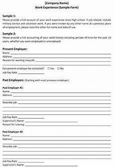 sle work history form small business free forms