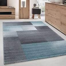 Teppich Modern Designer Kurzflor Wohnzimmer Karo Block