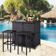 Goplus 3pcs Rattan Wicker Bar Set Patio Outdoor Table 2